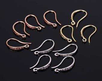 1 pair CZ zirconia earring hook, gold/rose gold/silver earring hook