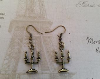 Brass Metal Candelabra Earrings - Hang 1.5 Inches.  CUTE!!!