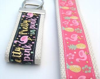 Pink Flamingo Keychain for Women - Flamingo Key Fob Wristlet- Wristlet Key Fob- Key Fob Wrist Keychain- Flamingo Gift- Womens Gift Under 10