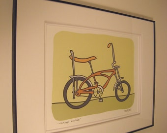 Orange Bicycle - A Bike in the Transportation Series by Danielle J. Hurd Signed and Framed Print