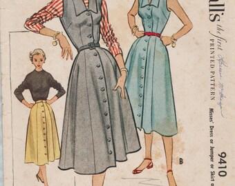 McCalls 9410 / Vintage 50s Sewing Pattern / Dress Jumper Skirt Blouse / Size 14 Bust 32