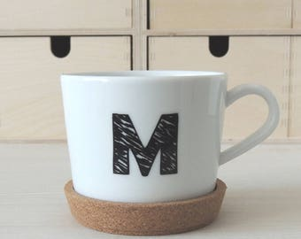 Custom mugs with letter or number with Cork coasters