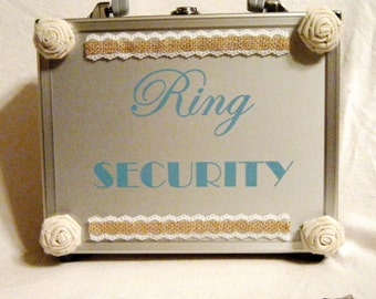 Burlap and Lace with Roses Wedding Ring Security Briefcase