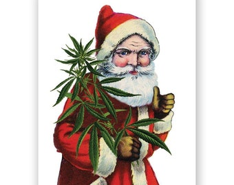 Cannabis Santa Holiday Card Set of 12