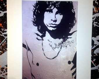 Jim Morrison - The Doors, signed canvas print with cardboard mount.