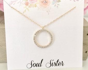Soul Sister Necklace, Soul Sister Gift, Best Friend Gift, Best Friend Necklace, April Birthstone Gold Necklace CZ Necklace best selling item