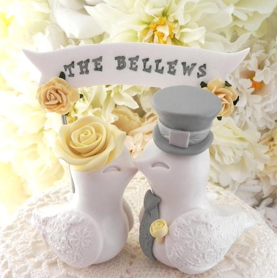White Yellow Gray Love Birds Wedding Cake Topper Wedding Decoration Wedding Banner Yellow Wedding Topper Wedding Gift Bride Groom Gift