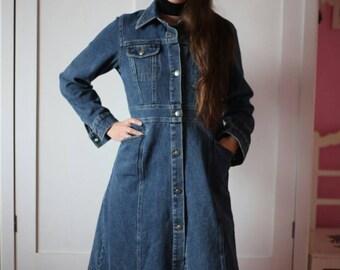 ad7ffa375a ... the latest fc2d4 ef11d Woman Denim Long Jacket Rare Jeans Long Coat  Vintage Girls Denim Coat ...