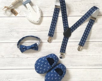 Anchor fabric Baby Boys and Girls Shoes , Baby Booties, Baby Shoes, navy, accesorizes, suspenders, hair clip, anchor, crawl shoes, headband.