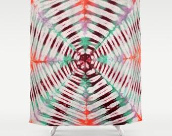 Fabric Shower Curtain-Green Pink Maroon Orange Rays Tie Dye-Decorative Shower Curtain-71x74 inches, -Hippie Decor
