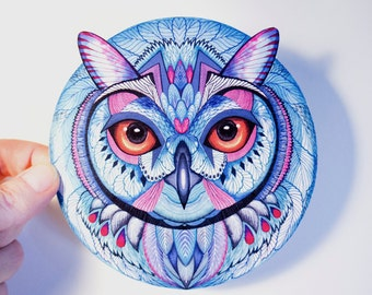Snow owl bird symmetric sticker, round waterproof vinyl label.