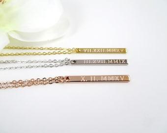 Personalized Vertical Custom Necklace, Roman Numerals Bar Necklace, Wedding Date, LongCharm, College Graduation Gift, High school Graduation