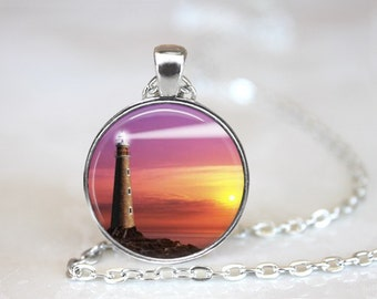 Light House 2 Glass Pendant, Photo Glass Necklace, Glass Keychain, Glass Jewelry