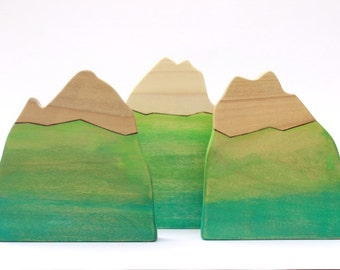 wooden mountain, waldorf nature table, wooden home decor, waldorf toys, mountain decor