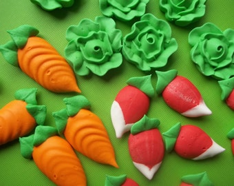 Large royal icing vegetables -- Made To Order -- carrot, lettuce, radish  -- Edible handmade cupcake toppers (12 pieces)