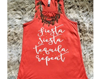 Fiesta Siesta Tequila Repeat Tank Top, Bachelorette Tee, Spring Break Shirt, Margarita, Lake Life, Beach Party Tank
