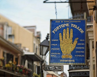 """New Orleans French Quarter Art, """"Fortune Teller"""" Sign, Colorful, Yellow, Cityscape, Mardi Gras.  Photography Print."""