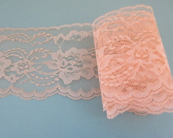 """Peach Lace Trim Ribbon 4"""" inch wide DIY Wedding Lace Invitations Floral Lace Sewing Bridal Gift Wrap Gift Basket Home Decor Wreath wl078"""