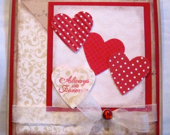Always and Forever Card with red hearts and ribbon. Blank inside.