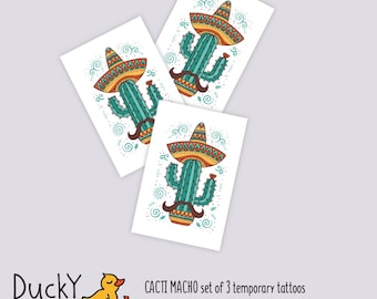 Set of 3 temporary tattoos Macho. Mexican cactus in sombrero with mustache tattoo. Mexican party favor, cacti cactus birthday party favors
