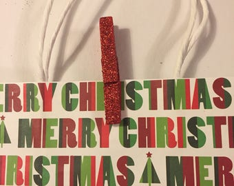 Red Clothespins, Christmas Red Glitter Picture Hangers, Bag Clips, Gift Bag Clips