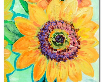 Sunflower Trio - ORIGINAL Modern Floral Painting, 12x36 by JENLO
