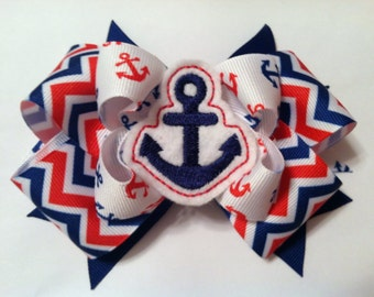 Red, White, Blue Chevron Layered Anchor Felt Bow