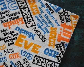 Vintage cotton fabric Estonian names Soviet black blue orange white chintz 2.7 yards in 1 listing