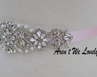 light pink belt, blush pink belt, light pink bridal belt, beaded bridal belt, wedding sashes,  sash, aqua bridesmaid sash