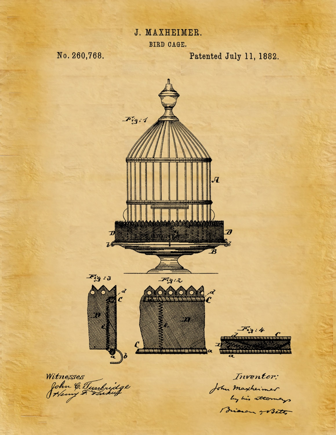 Patent 1882 Bird Cage Art Print - Poster - Drawing Illustration ...