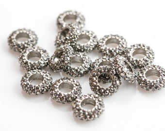 HEAVY HEMATITE-Diamond Metal Roundel Pave-- High Quality-- 5 pcs per order-- 8mm ,10mm and 12 mm