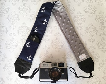 DSLR Minky Camera Strap, Padded with Lens Cap Pocket, Nikon, Canon, DSLR Photography, Photographer Gift,  - Navy Anchors with Gray