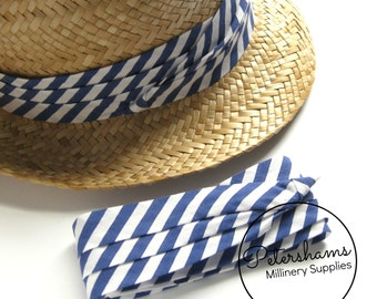 Hat Ribbon Band for Hat Making / Millinery - Blue & White Stripe