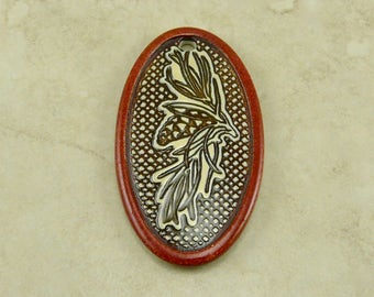 """Brown Pinecone Oval Pendant - Pine Tree Branch Cone Nature Bug Ivory Mocha Brown - Clay River Designs 1 7/8"""" Diameter I ship Internationally"""