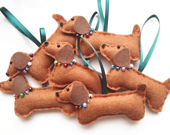 Handmade Dachshund Sausage Dog Christmas Decoration/Hanging