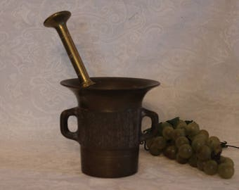 Heavy Antique Solid Brass Mortar and Pestle - Late 1800s to Early 1900's