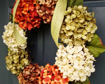 Hydrangea Wreath | Front Door Wreaths | Fall Door Wreath | Door Decor | Outdoor Wreaths | Summer Wreath | Wreath for Front Door