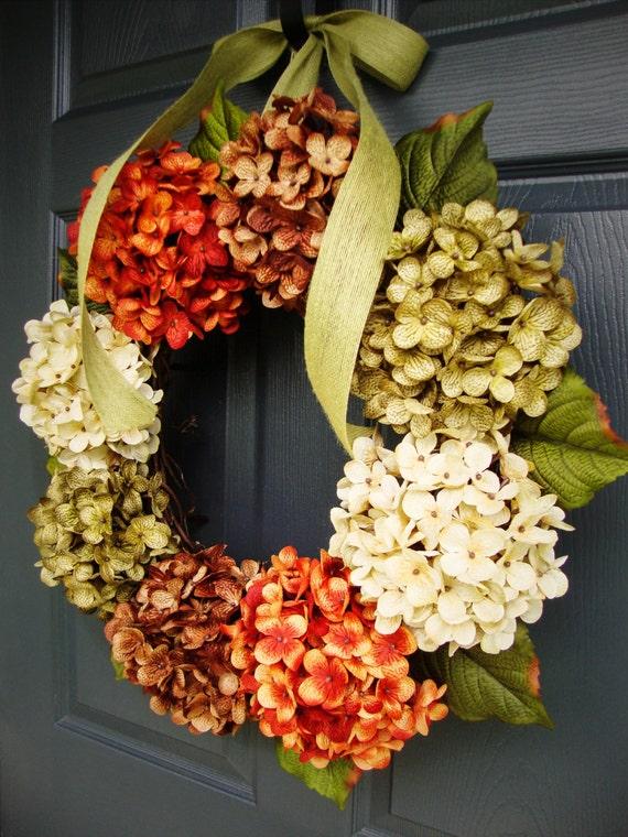 Attractive Hydrangea Wreath Front Door Wreaths Fall Door Wreath