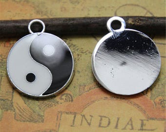 10pcs Yin and yang black and white enamel charms pendant  silver tone 20 x 20mm ASD0045