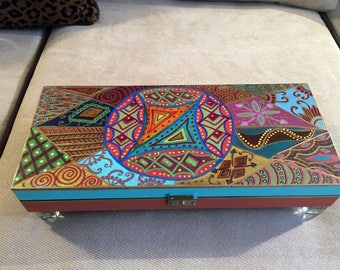 "Hand  Painted  Bohemian Wood Jewelry Box   3""Hx14.5""Wx6.5""D   B0105"
