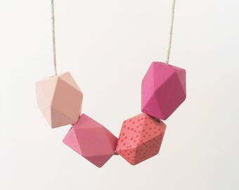 Handpainted Wooden Bead necklace   Pink geometric ombre   READY TO SHIP