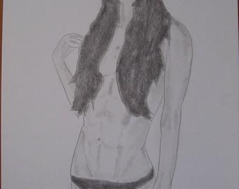 """drawing of nude female erotic """"Nostalgic"""""""