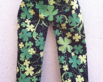 St Patrick's Day Elf Pants Black & Green Clover Shamrocks by Christmas Shelf Clothes for Elf 12 INCH or Pixie NEW