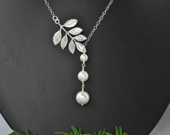 White Pearl Drop leaf Lariat Sterling Silver Necklace,Bridesmaid Asymetrical Leaves Necklace, Swarovski Pearl drop Bridal