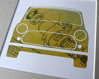 Mini Cooper Front Hub - Unique, Original Framed Austin Rover Mini Artwork - Made from vintage car workshop manual