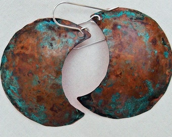 Copper Crescent Earrings with Verdigris Patina Large Handmade