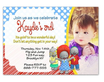 Ella the Elephant Birthday Party Invitation, Custom Personalized Digital File - Ella - babar