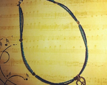 Double Strand Blues Necklace With Hearts