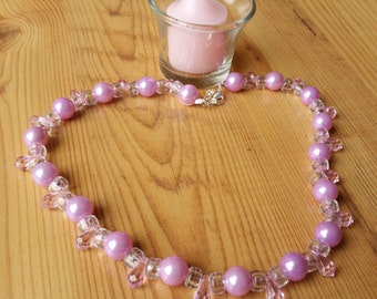 Pink Tear Drop Beaded Necklace