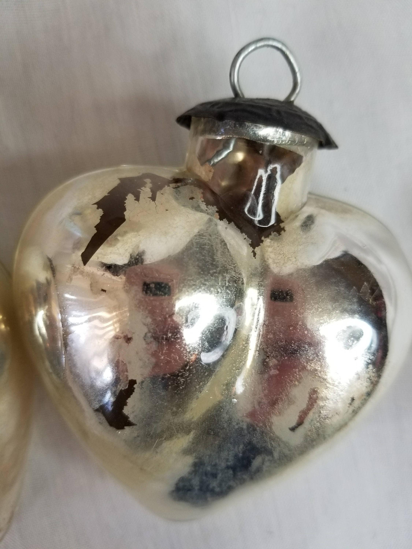Set of Two (2) Antique LARGE Mercury Glass Signed Kugel ...